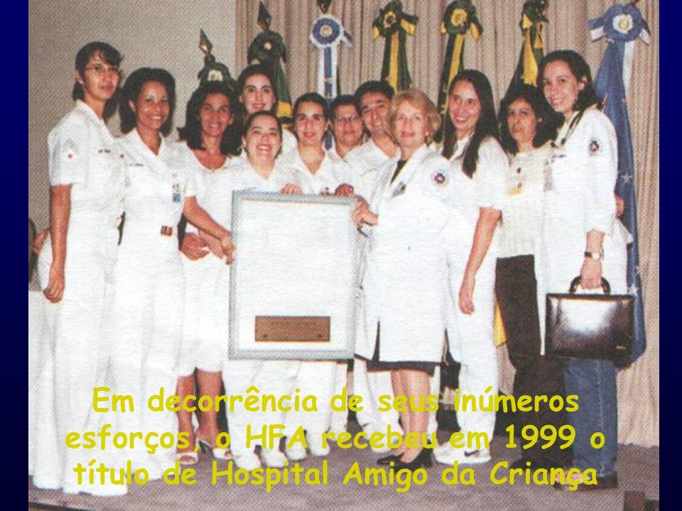 Em decorrência de seus inúmeros esforços, o HFA recebeu em 1999 o título de Hospital Amigo da Criança