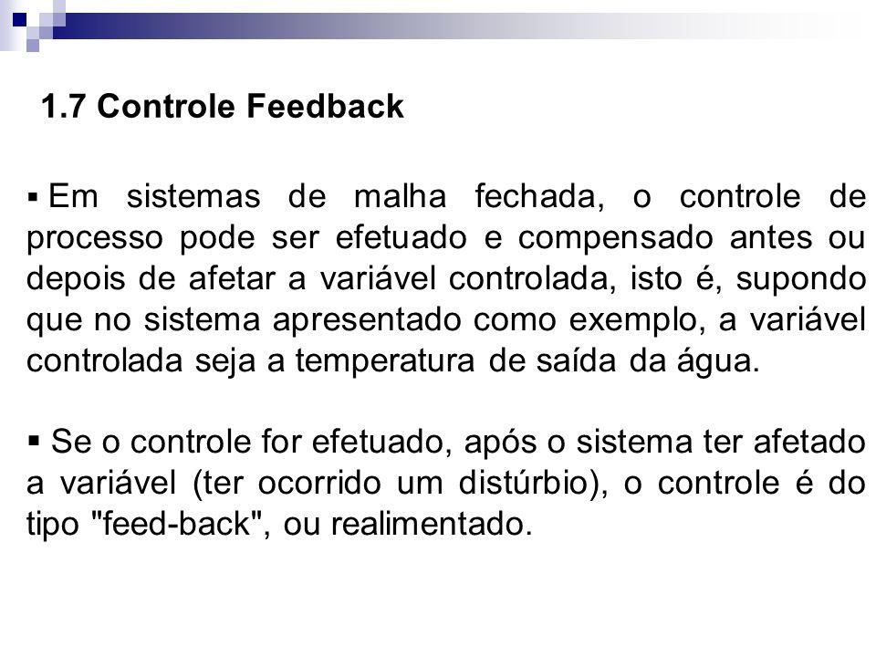 Em sistemas de malha fechada, o controle de processo pode ser efetuado e compensado antes ou depois de afetar a variável controlada, isto é, supondo q