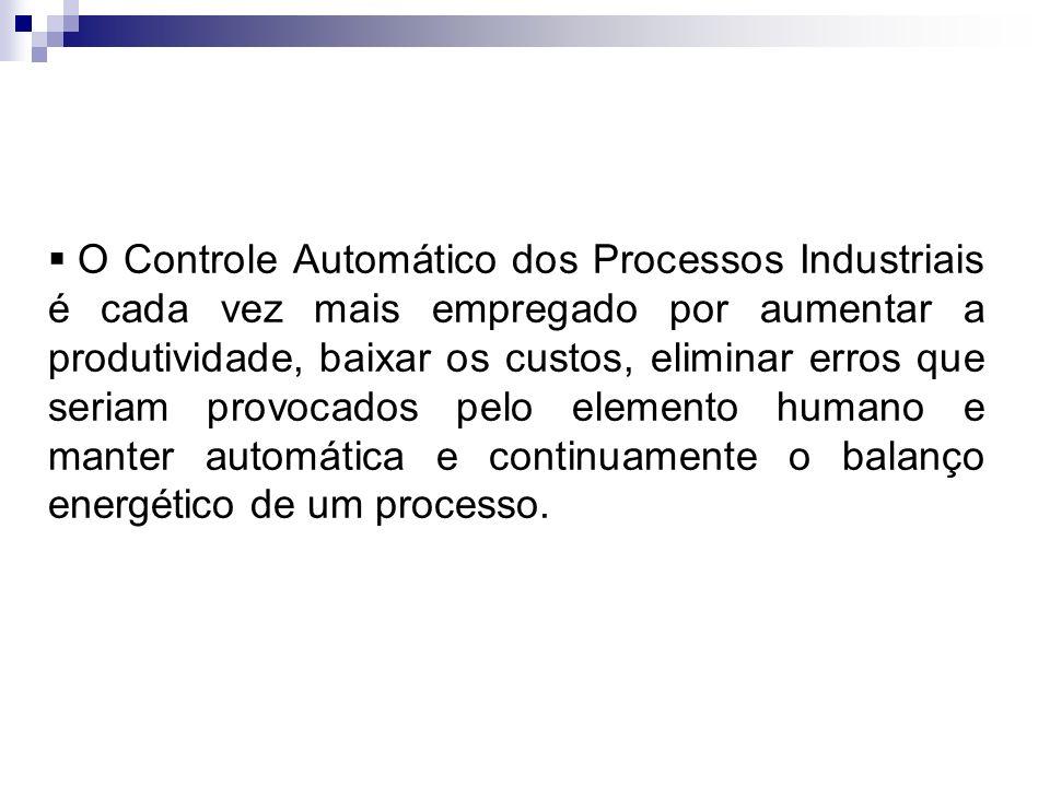 O Controle Automático dos Processos Industriais é cada vez mais empregado por aumentar a produtividade, baixar os custos, eliminar erros que seriam pr