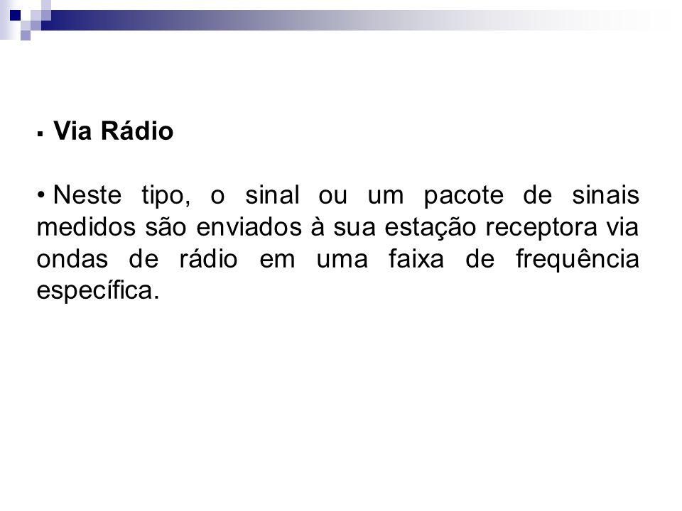 Via Rádio Neste tipo, o sinal ou um pacote de sinais medidos são enviados à sua estação receptora via ondas de rádio em uma faixa de frequência especí