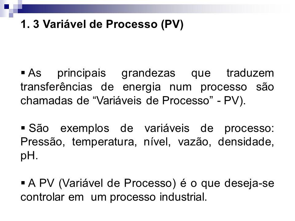 1. 3 Variável de Processo (PV) As principais grandezas que traduzem transferências de energia num processo são chamadas de Variáveis de Processo - PV)