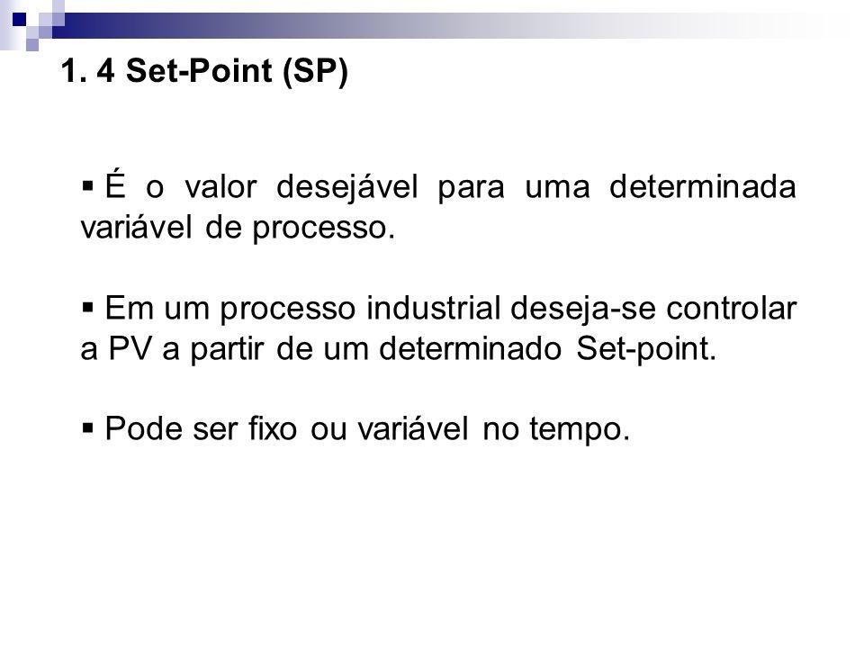 1. 4 Set-Point (SP) É o valor desejável para uma determinada variável de processo. Em um processo industrial deseja-se controlar a PV a partir de um d