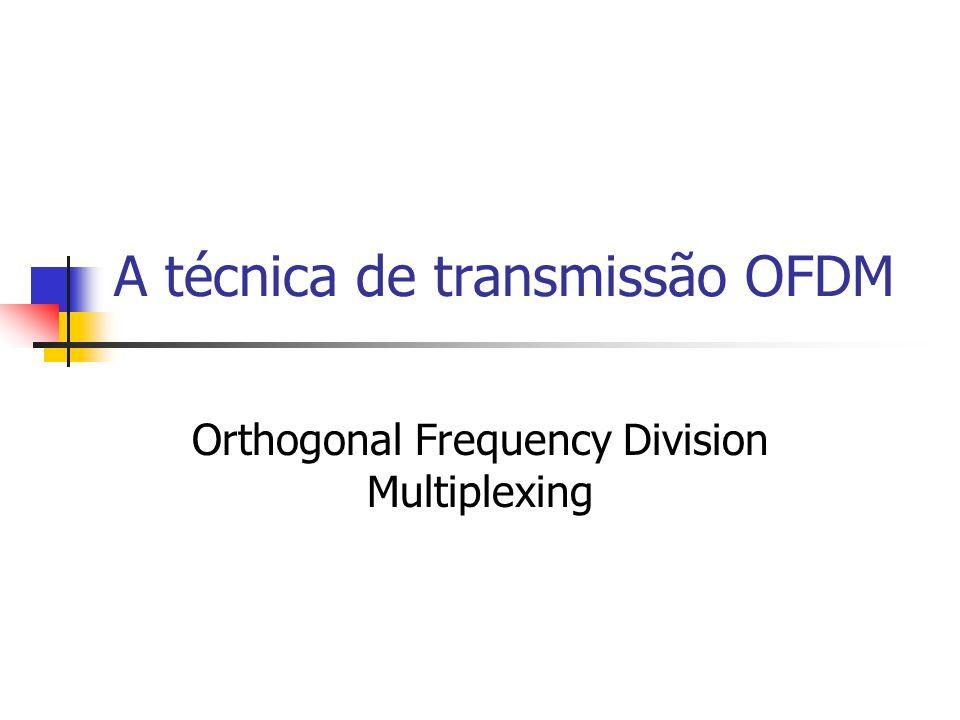 Recepção OFDM O sinal OFDM passa por um banco de Ns correlatores seguido de comparações com limiares de decisão adequados para a recuperação dos símbolos complexos.