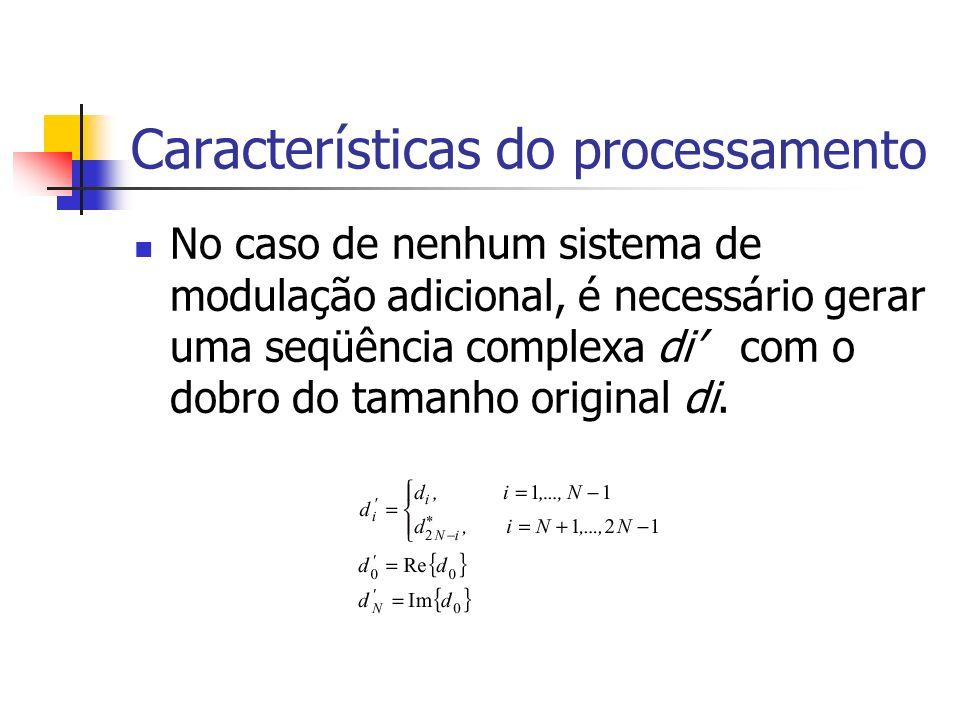 Características do processamento No caso de nenhum sistema de modulação adicional, é necessário gerar uma seqüência complexa di com o dobro do tamanho