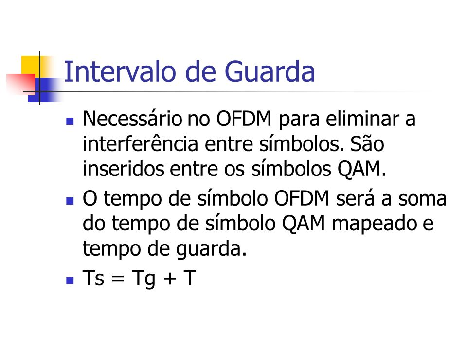Intervalo de Guarda Necessário no OFDM para eliminar a interferência entre símbolos. São inseridos entre os símbolos QAM. O tempo de símbolo OFDM será