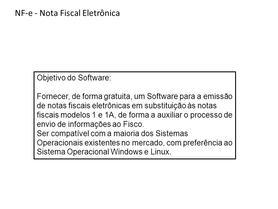 Objetivo do Software: Fornecer, de forma gratuita, um Software para a emissão de notas fiscais eletrônicas em substituição às notas fiscais modelos 1