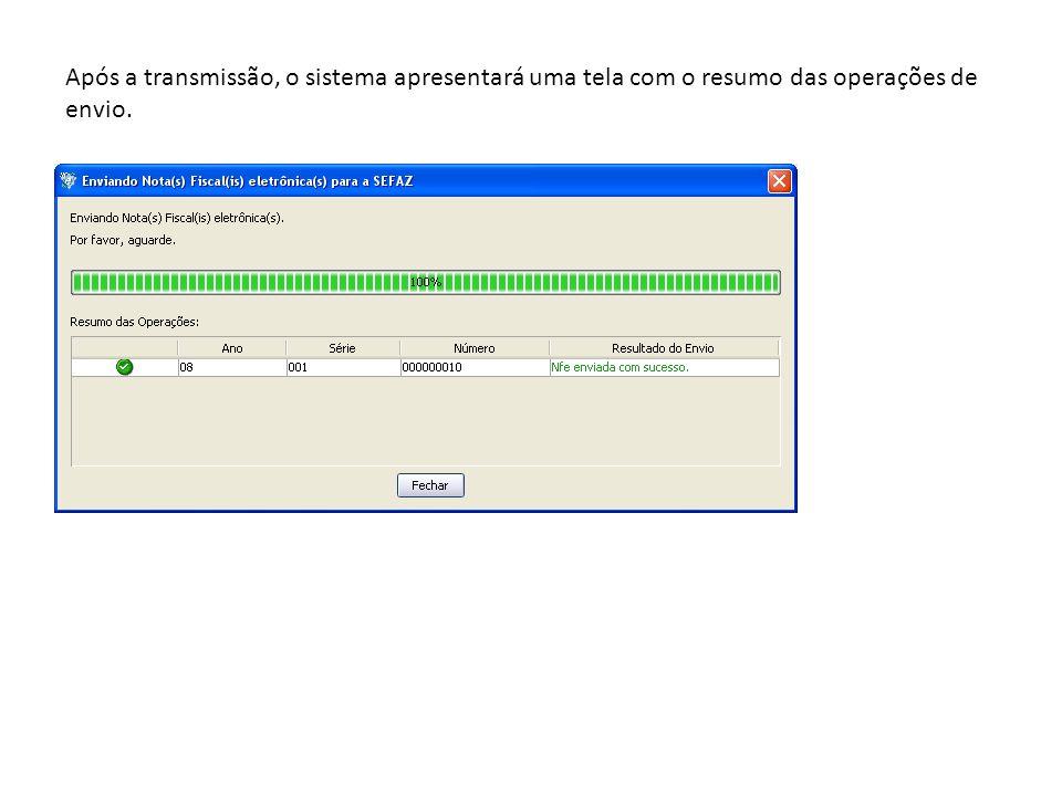 Após a transmissão, o sistema apresentará uma tela com o resumo das operações de envio.