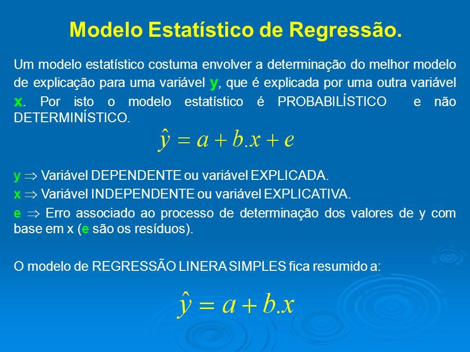 Modelo Estatístico de Regressão. Um modelo estatístico costuma envolver a determinação do melhor modelo de explicação para uma variável y, que é expli