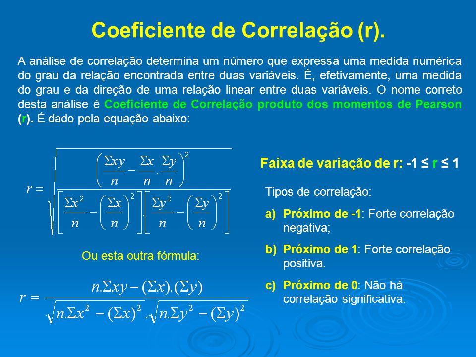 Coeficiente de Correlação (r). A análise de correlação determina um número que expressa uma medida numérica do grau da relação encontrada entre duas v