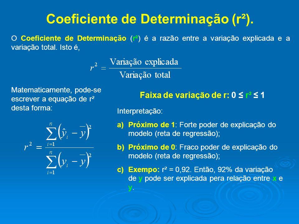 Coeficiente de Determinação (r²). O Coeficiente de Determinação (r²) é a razão entre a variação explicada e a variação total. Isto é, Faixa de variaçã