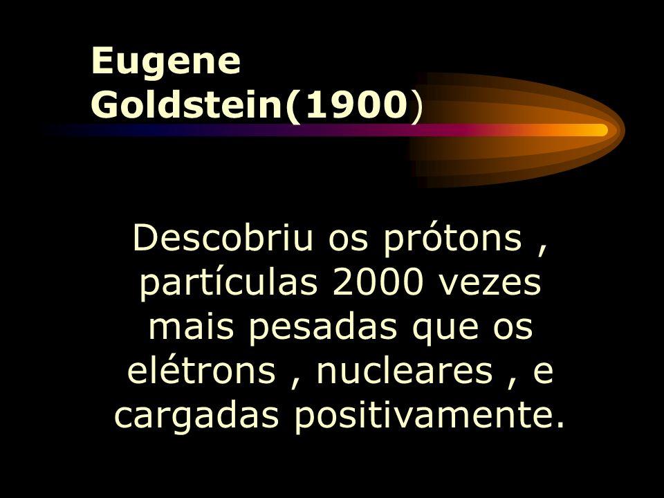 Thomson (1897) Propôs (a partir de Crookes)que a massa do átomo seria devido,quase que totalmente,às cargas (+),estas espalhadas uniformemente, por to