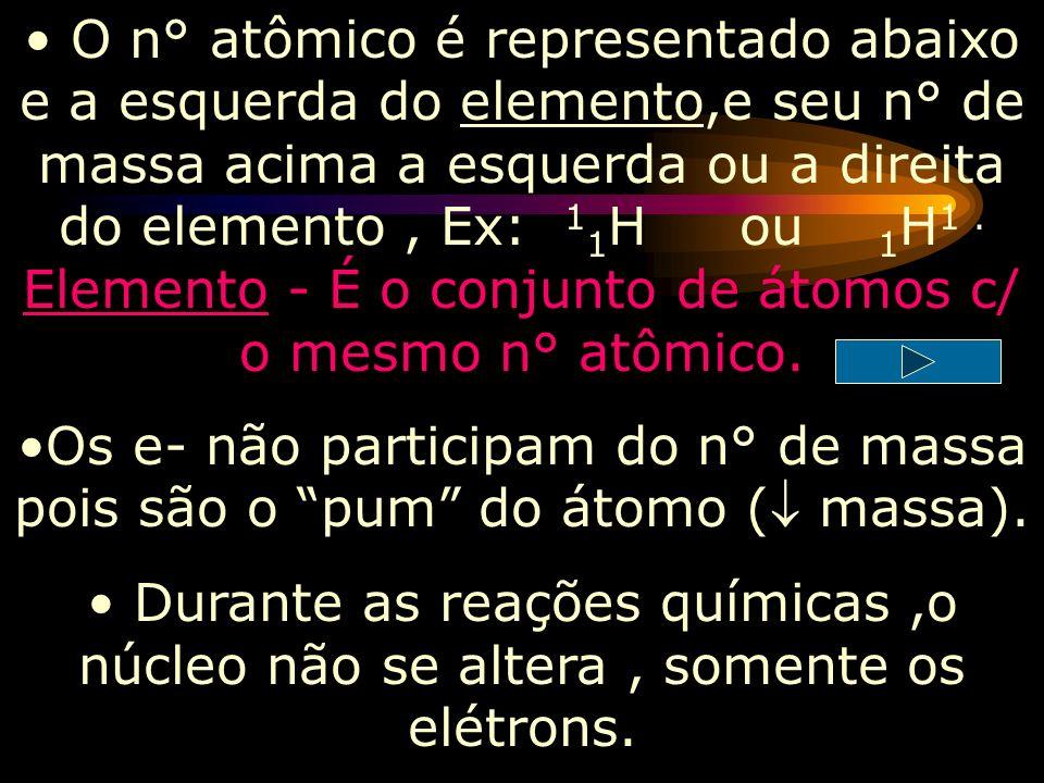 O n° de prótons de um átomo, determina quem ele é,também é chamado de n° atômico (representado pela letra Z na tabela). Z=N°prótons=n°atômico(Rg atômi