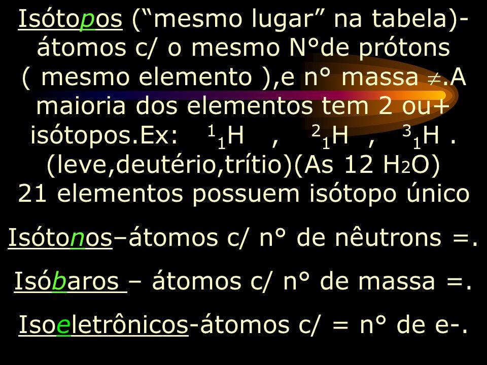O n° atômico é representado abaixo e a esquerda do elemento,e seu n° de massa acima a esquerda ou a direita do elemento, Ex: 1 1 H ou 1 H 1. Elemento