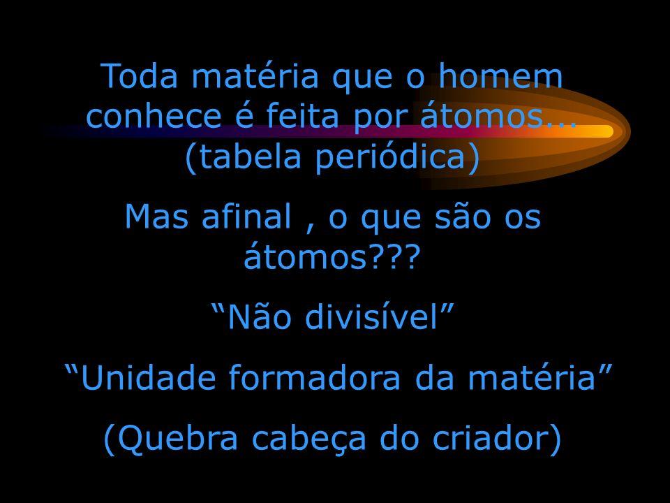 Os átomos são feitos de 3 partículas subatômicas Próton (carga +1, massa =1) Nêutrons (carga 0, massa = 1) Elétron(e-) (carga-1,massa=1/2000)