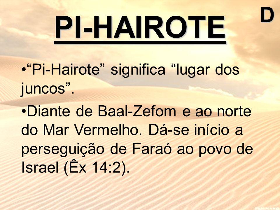 PI-HAIROTED Pi-Hairote significa lugar dos juncos. Diante de Baal-Zefom e ao norte do Mar Vermelho. Dá-se início a perseguição de Faraó ao povo de Isr