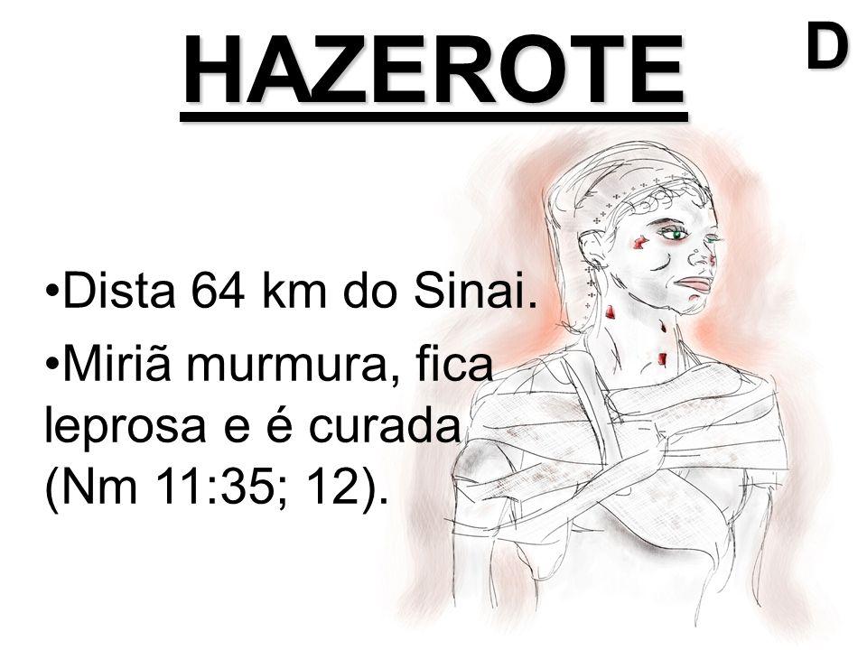 HAZEROTE Dista 64 km do Sinai. Miriã murmura, fica leprosa e é curada (Nm 11:35; 12).D