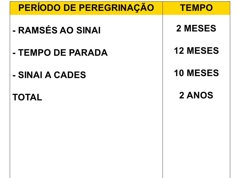 PERÍODO DE PEREGRINAÇÃOTEMPO - RAMSÉS AO SINAI 2 MESES - TEMPO DE PARADA 12 MESES - SINAI A CADES 10 MESES TOTAL 2 ANOS