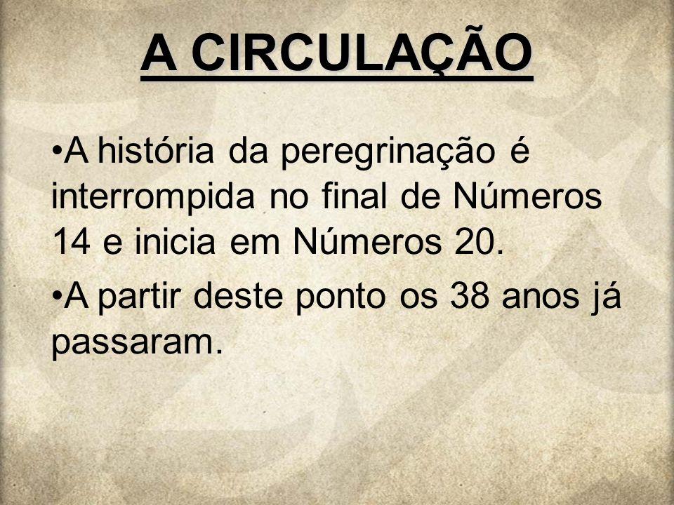 A CIRCULAÇÃO A história da peregrinação é interrompida no final de Números 14 e inicia em Números 20. A partir deste ponto os 38 anos já passaram.