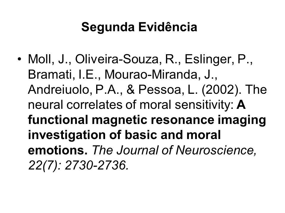 Segunda Evidência Moll, J., Oliveira-Souza, R., Eslinger, P., Bramati, I.E., Mourao-Miranda, J., Andreiuolo, P.A., & Pessoa, L. (2002). The neural cor
