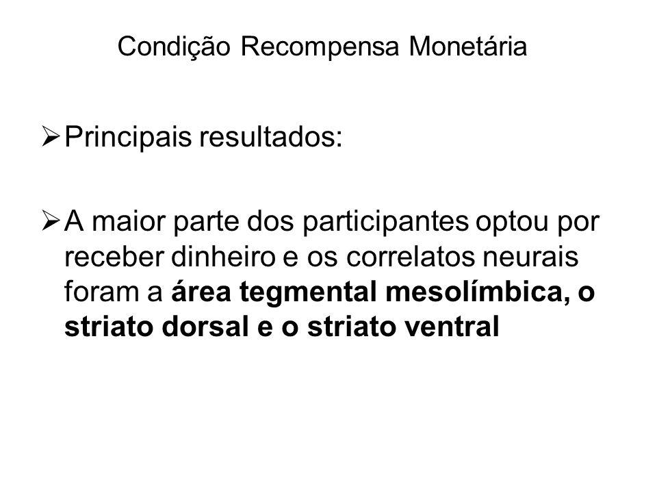 Principais resultados: A maior parte dos participantes optou por receber dinheiro e os correlatos neurais foram a área tegmental mesolímbica, o striat