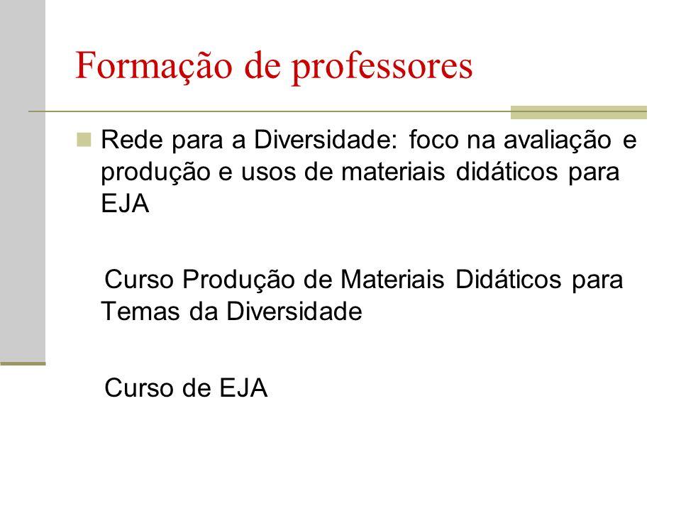 Formação de professores Rede para a Diversidade: foco na avaliação e produção e usos de materiais didáticos para EJA Curso Produção de Materiais Didáticos para Temas da Diversidade Curso de EJA