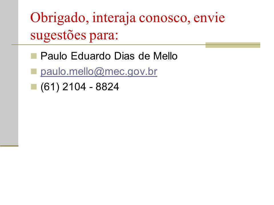 Obrigado, interaja conosco, envie sugestões para: Paulo Eduardo Dias de Mello paulo.mello@mec.gov.br (61) 2104 - 8824