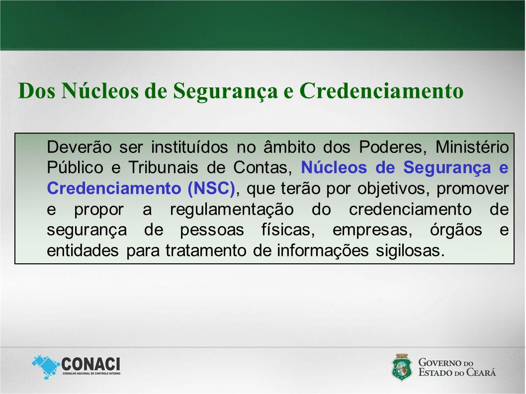 Dos Núcleos de Segurança e Credenciamento Deverão ser instituídos no âmbito dos Poderes, Ministério Público e Tribunais de Contas, Núcleos de Seguranç