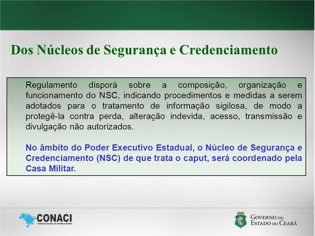 Dos Núcleos de Segurança e Credenciamento Regulamento disporá sobre a composição, organização e funcionamento do NSC, indicando procedimentos e medida