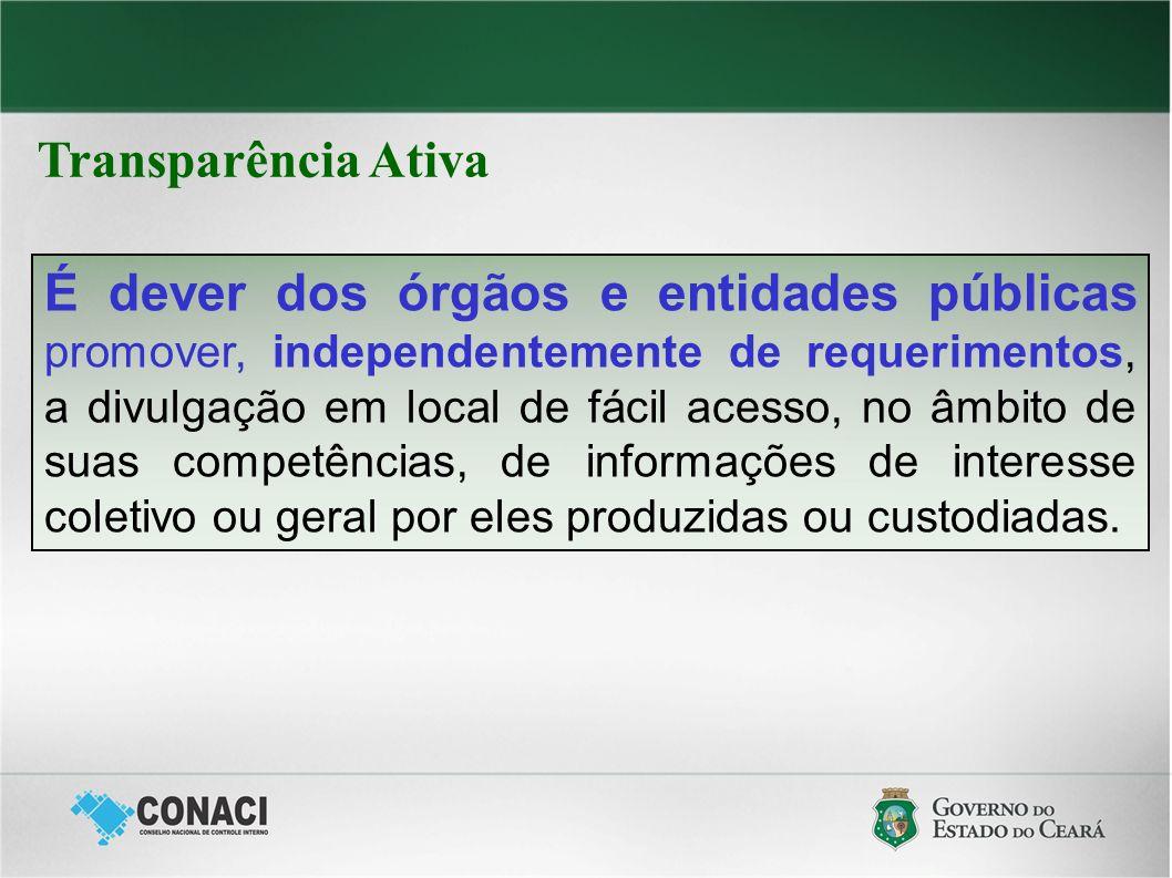 É dever dos órgãos e entidades públicas promover, independentemente de requerimentos, a divulgação em local de fácil acesso, no âmbito de suas competê