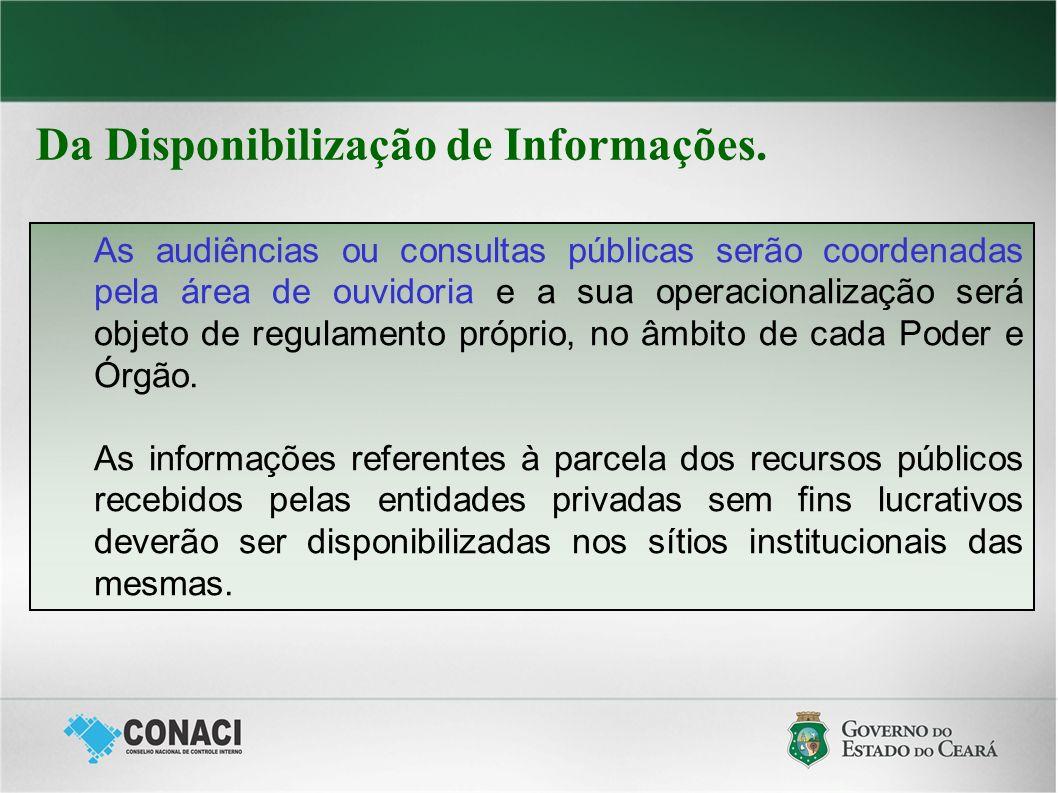 Da Disponibilização de Informações. As audiências ou consultas públicas serão coordenadas pela área de ouvidoria e a sua operacionalização será objeto