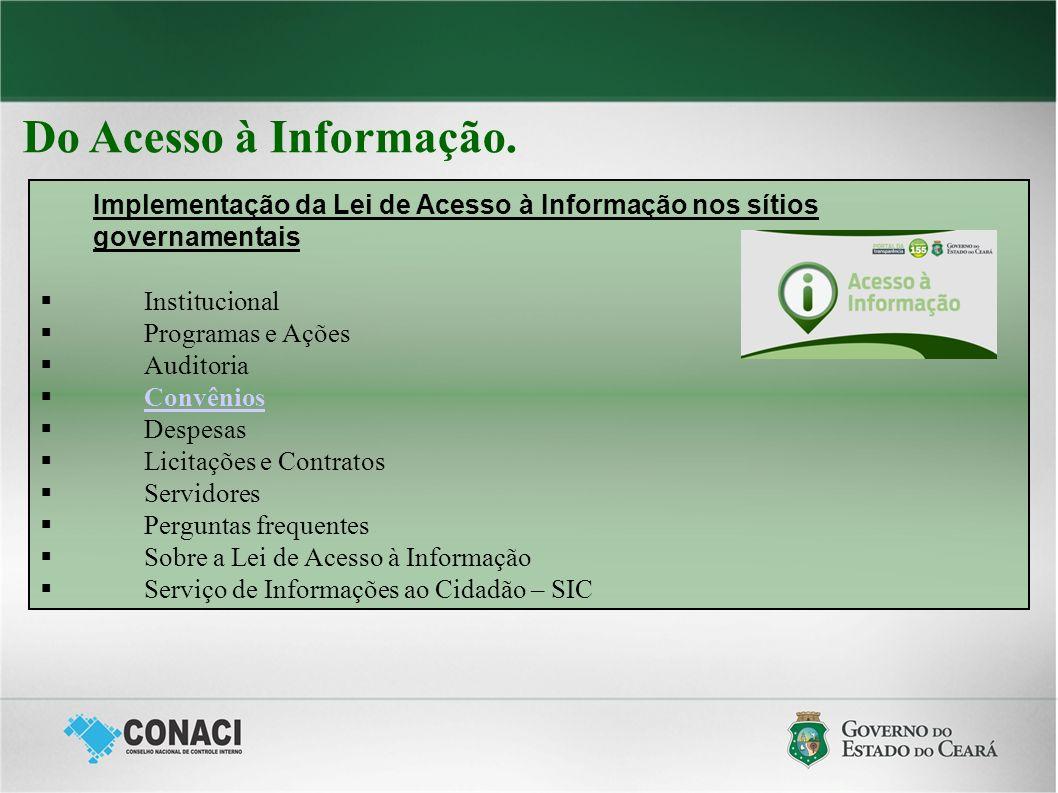 Do Acesso à Informação. Implementação da Lei de Acesso à Informação nos sítios governamentais Institucional Programas e Ações Auditoria Convênios Desp