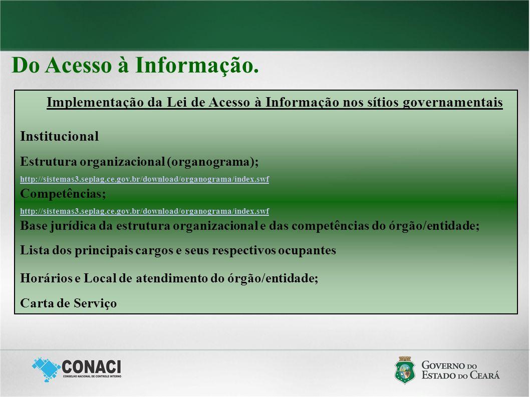 Do Acesso à Informação. Implementação da Lei de Acesso à Informação nos sítios governamentais Institucional Estrutura organizacional (organograma); ht