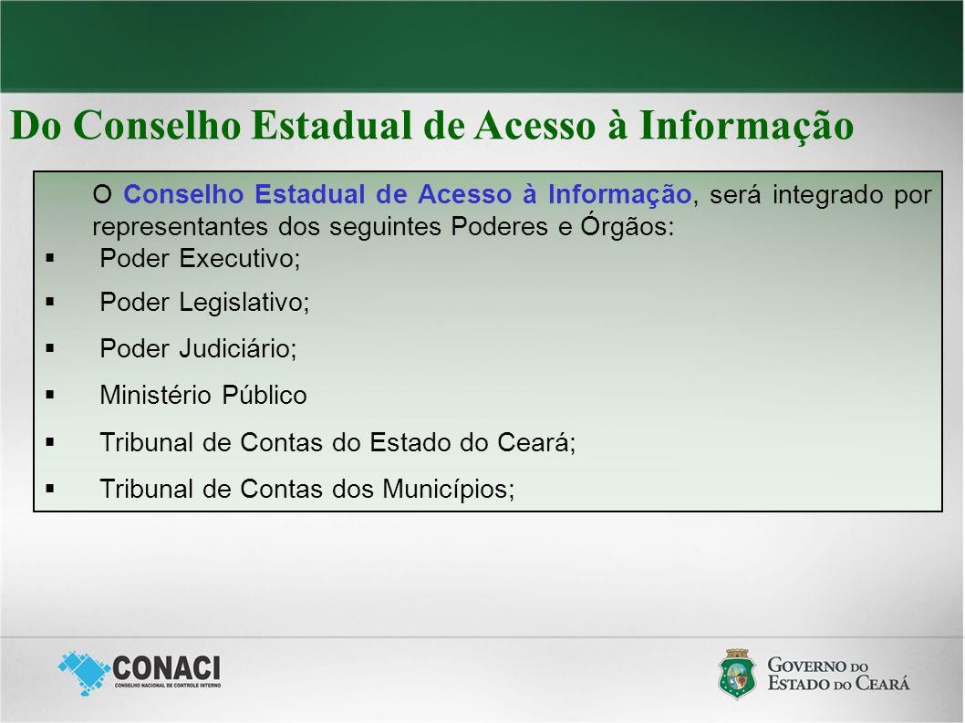 Do Conselho Estadual de Acesso à Informação O Conselho Estadual de Acesso à Informação, será integrado por representantes dos seguintes Poderes e Órgã