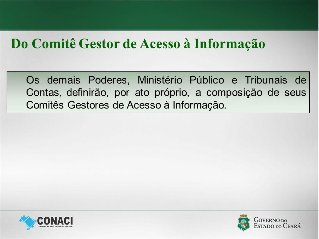 Do Comitê Gestor de Acesso à Informação Os demais Poderes, Ministério Público e Tribunais de Contas, definirão, por ato próprio, a composição de seus