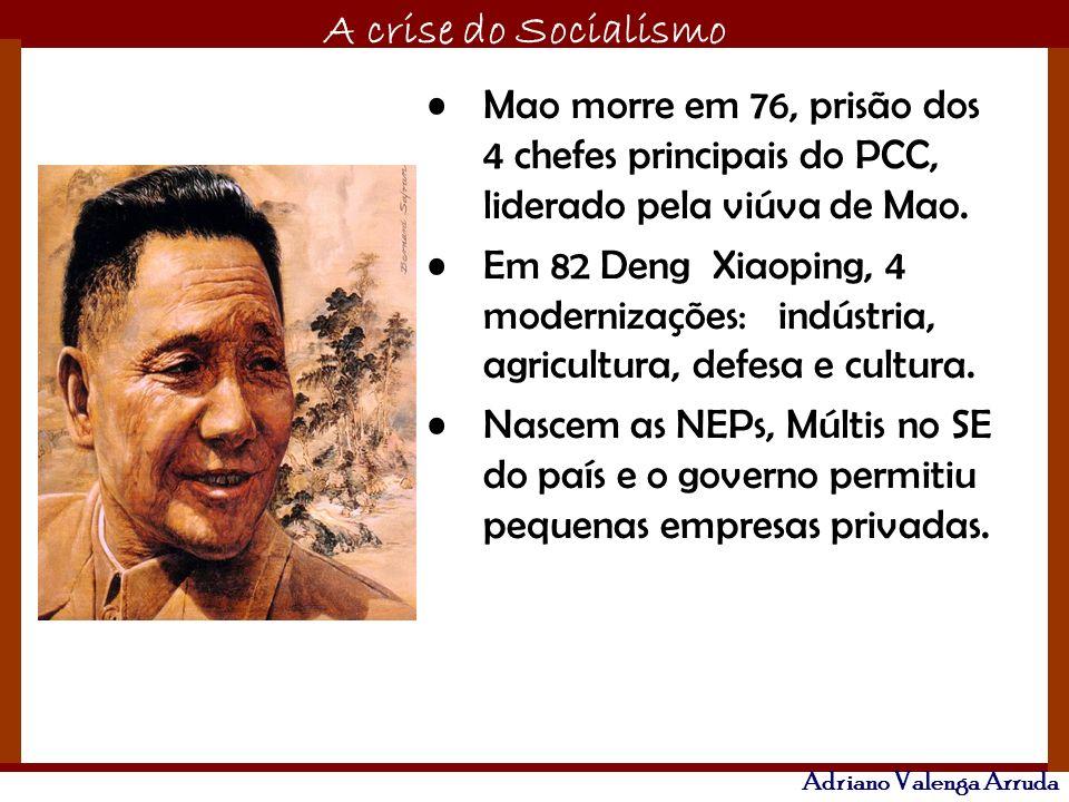 O maior conflito da história A crise do Socialismo Adriano Valenga Arruda Mao morre em 76, prisão dos 4 chefes principais do PCC, liderado pela viúva