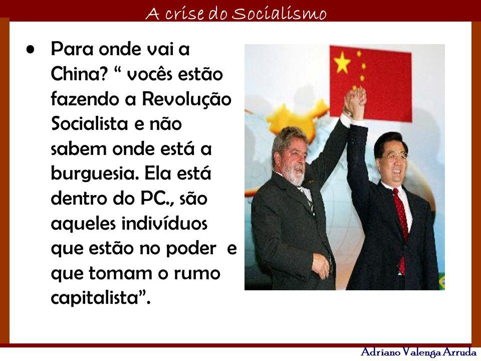 O maior conflito da história A crise do Socialismo Adriano Valenga Arruda Para onde vai a China? vocês estão fazendo a Revolução Socialista e não sabe