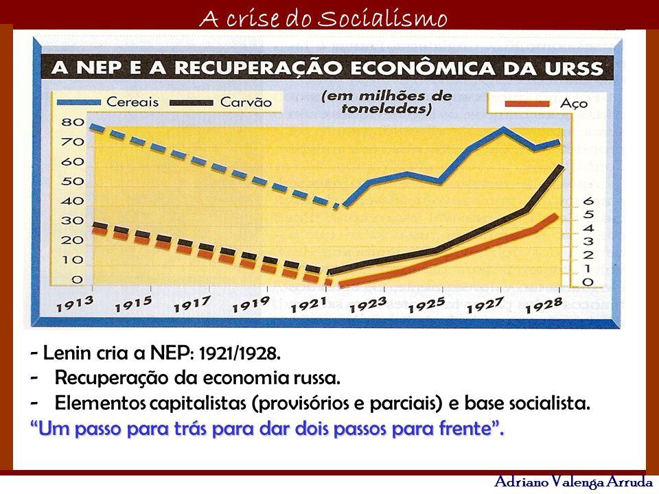 O maior conflito da história A crise do Socialismo Adriano Valenga Arruda - Lenin cria a NEP: 1921/1928. -Recuperação da economia russa. -Elementos ca