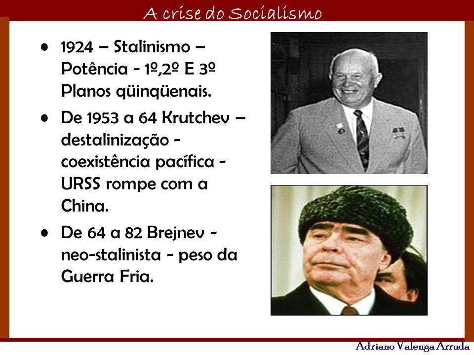 O maior conflito da história A crise do Socialismo Adriano Valenga Arruda 1924 – Stalinismo – Potência - 1º,2º E 3º Planos qüinqüenais. De 1953 a 64 K