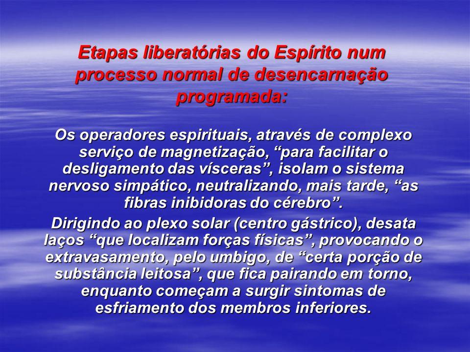 Etapas liberatórias do Espírito num processo normal de desencarnação programada: Os operadores espirituais, através de complexo serviço de magnetizaçã