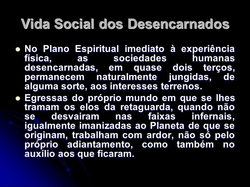 Vida Social dos Desencarnados No Plano Espiritual imediato à experiência física, as sociedades humanas desencarnadas, em quase dois terços, permanecem