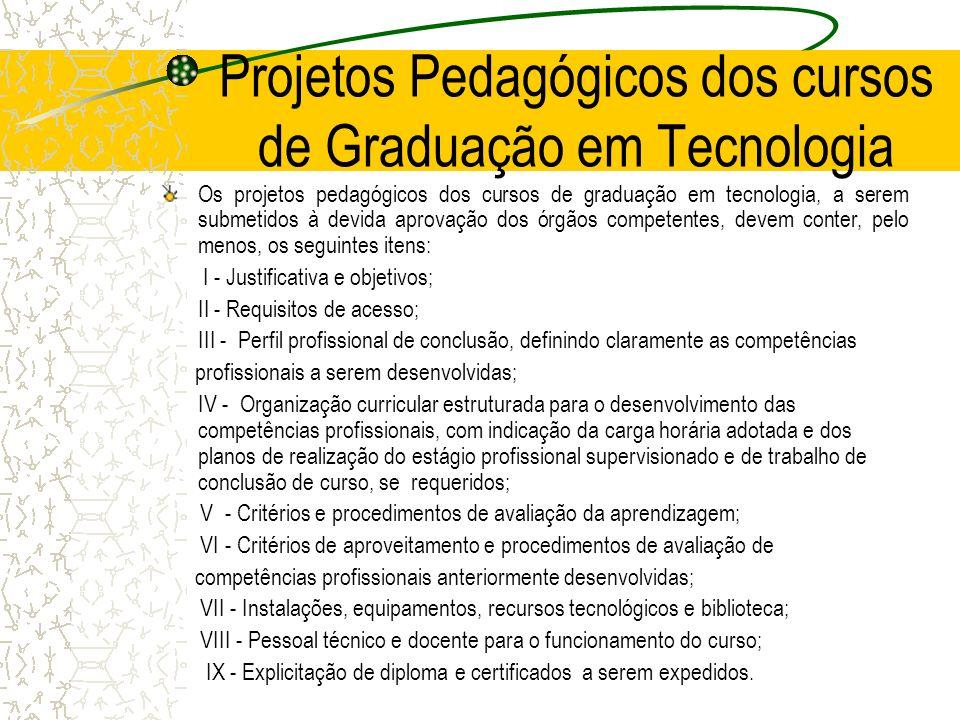 Projetos Pedagógicos dos cursos de Graduação em Tecnologia Os projetos pedagógicos dos cursos de graduação em tecnologia, a serem submetidos à devida