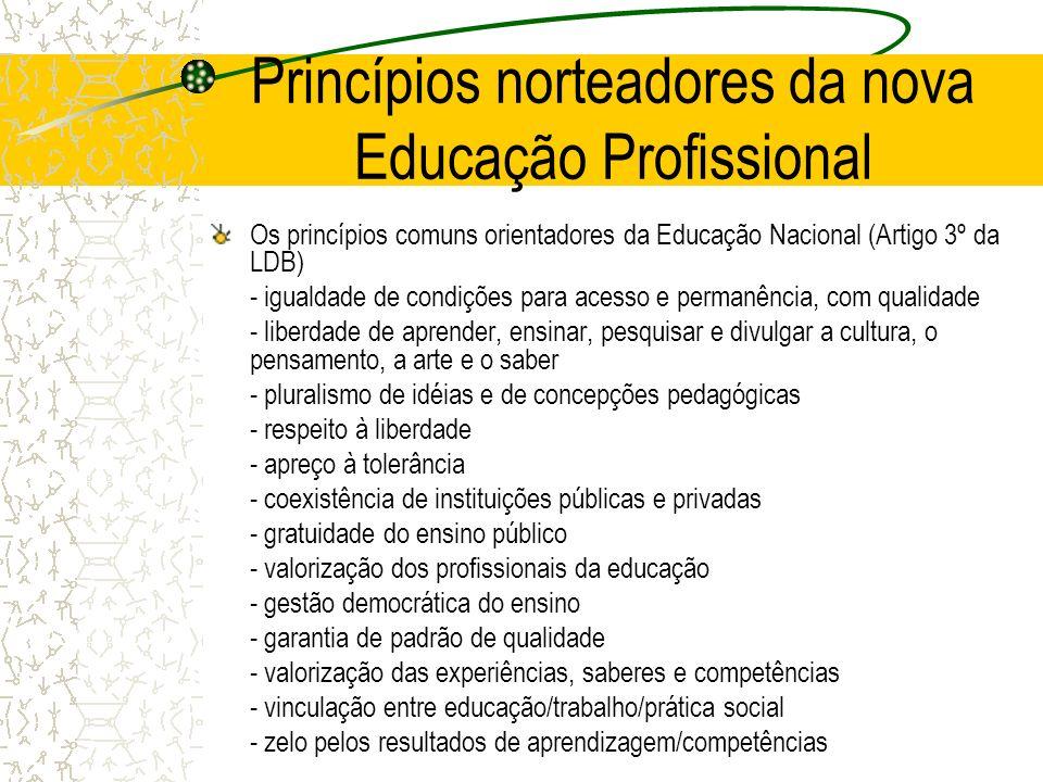 Princípios norteadores da nova Educação Profissional Os princípios comuns orientadores da Educação Nacional (Artigo 3º da LDB) - igualdade de condiçõe