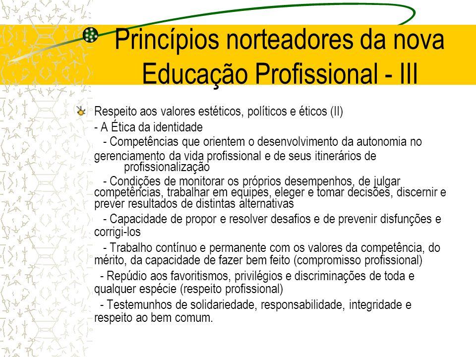 Princípios norteadores da nova Educação Profissional - III Respeito aos valores estéticos, políticos e éticos (II) - A Ética da identidade - Competênc