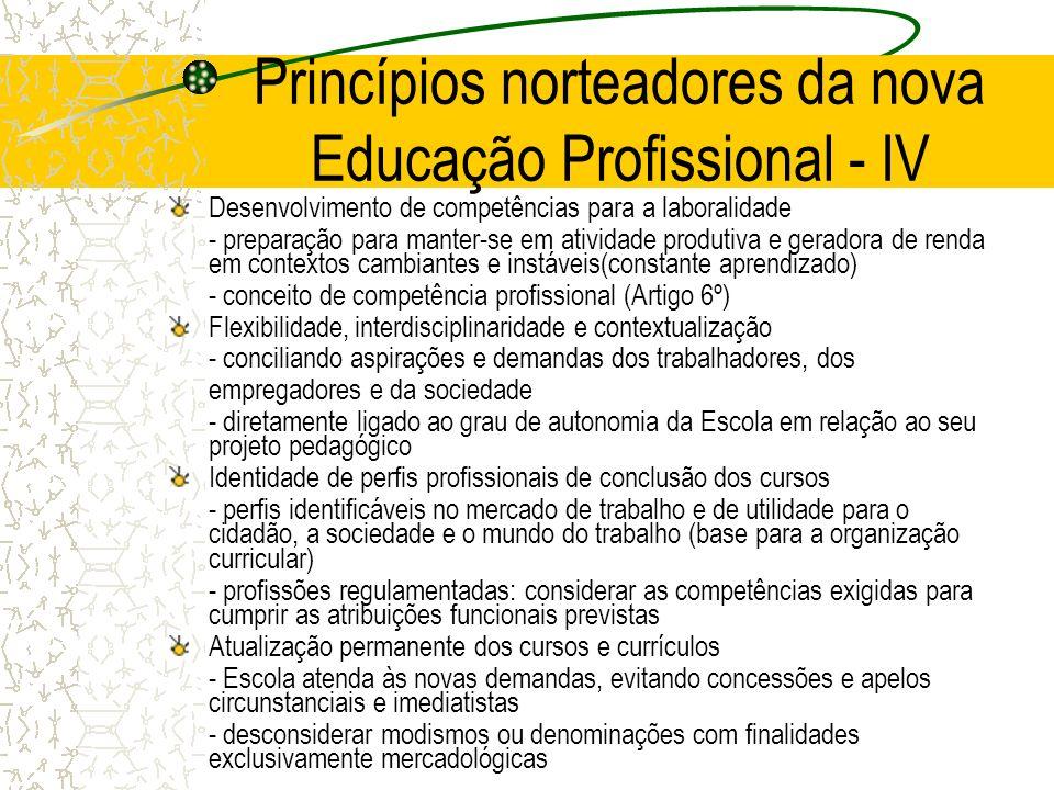 Princípios norteadores da nova Educação Profissional - IV Desenvolvimento de competências para a laboralidade - preparação para manter-se em atividade