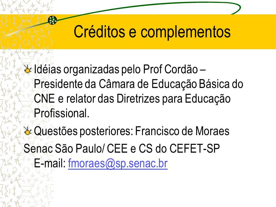 Créditos e complementos Idéias organizadas pelo Prof Cordão – Presidente da Câmara de Educação Básica do CNE e relator das Diretrizes para Educação Pr