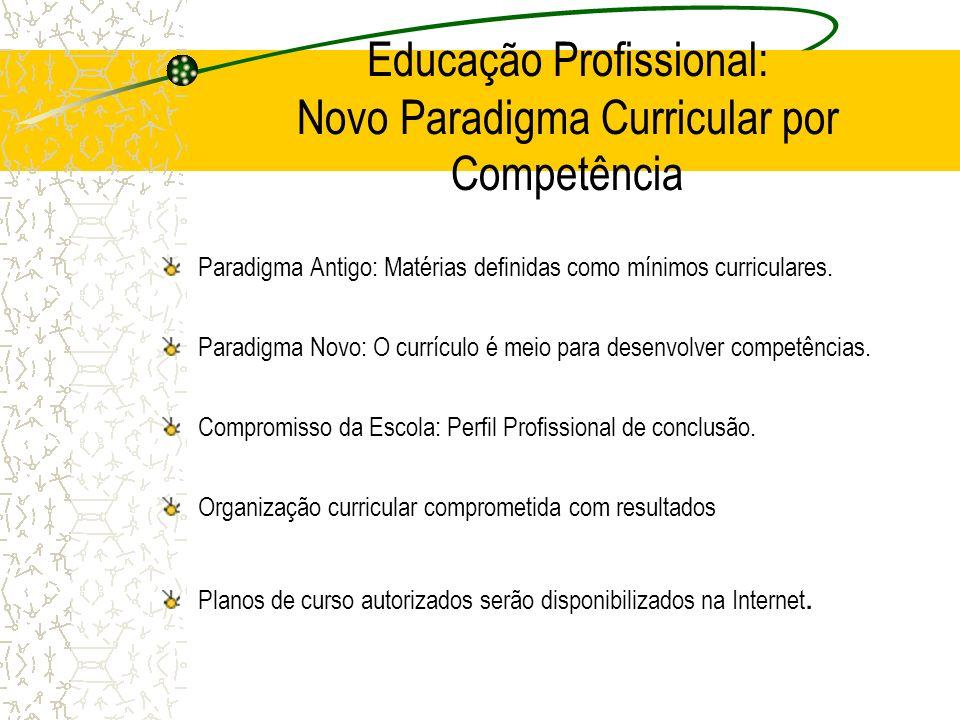 Educação Profissional: Novo Paradigma Curricular por Competência Paradigma Antigo: Matérias definidas como mínimos curriculares. Paradigma Novo: O cur