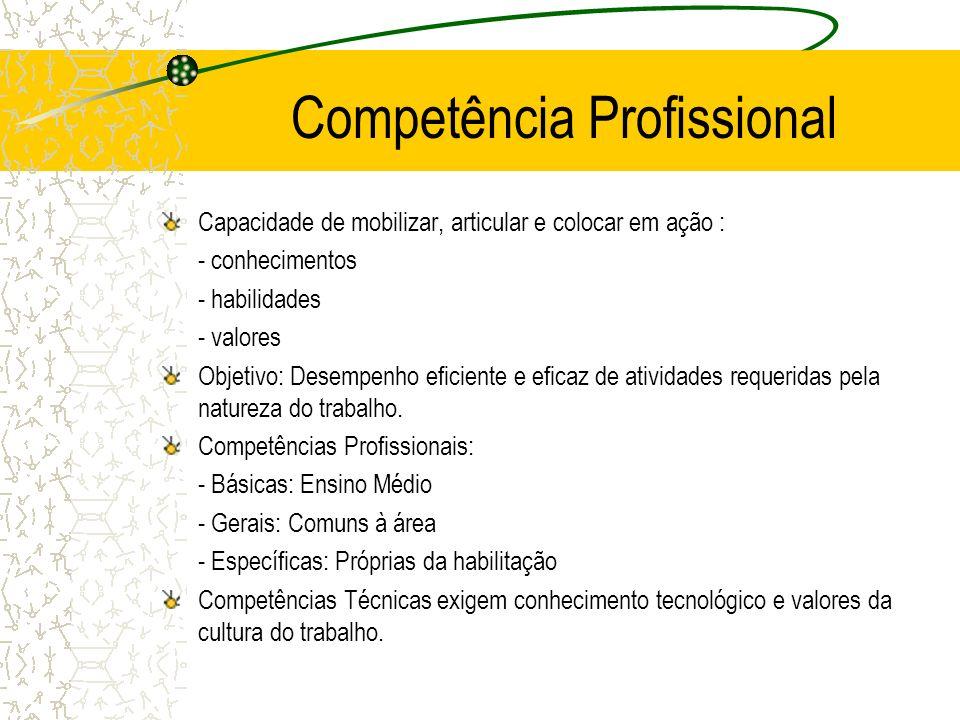 Competência Profissional Capacidade de mobilizar, articular e colocar em ação : - conhecimentos - habilidades - valores Objetivo: Desempenho eficiente