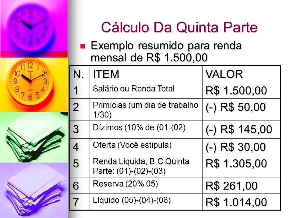 Cálculo Da Quinta Parte Exemplo resumido para renda mensal de R$ 1.500,00 Exemplo resumido para renda mensal de R$ 1.500,00 N.ITEMVALOR 1 Salário ou R