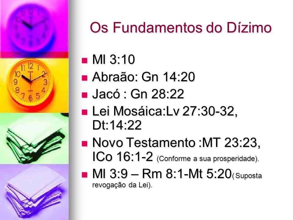 Os Fundamentos do Dízimo Ml 3:10 Ml 3:10 Abraão: Gn 14:20 Abraão: Gn 14:20 Jacó : Gn 28:22 Jacó : Gn 28:22 Lei Mosáica:Lv 27:30-32, Dt:14:22 Lei Mosái