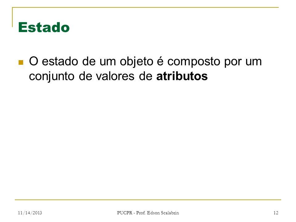 11/14/2013 PUCPR - Prof. Edson Scalabrin 12 Estado O estado de um objeto é composto por um conjunto de valores de atributos